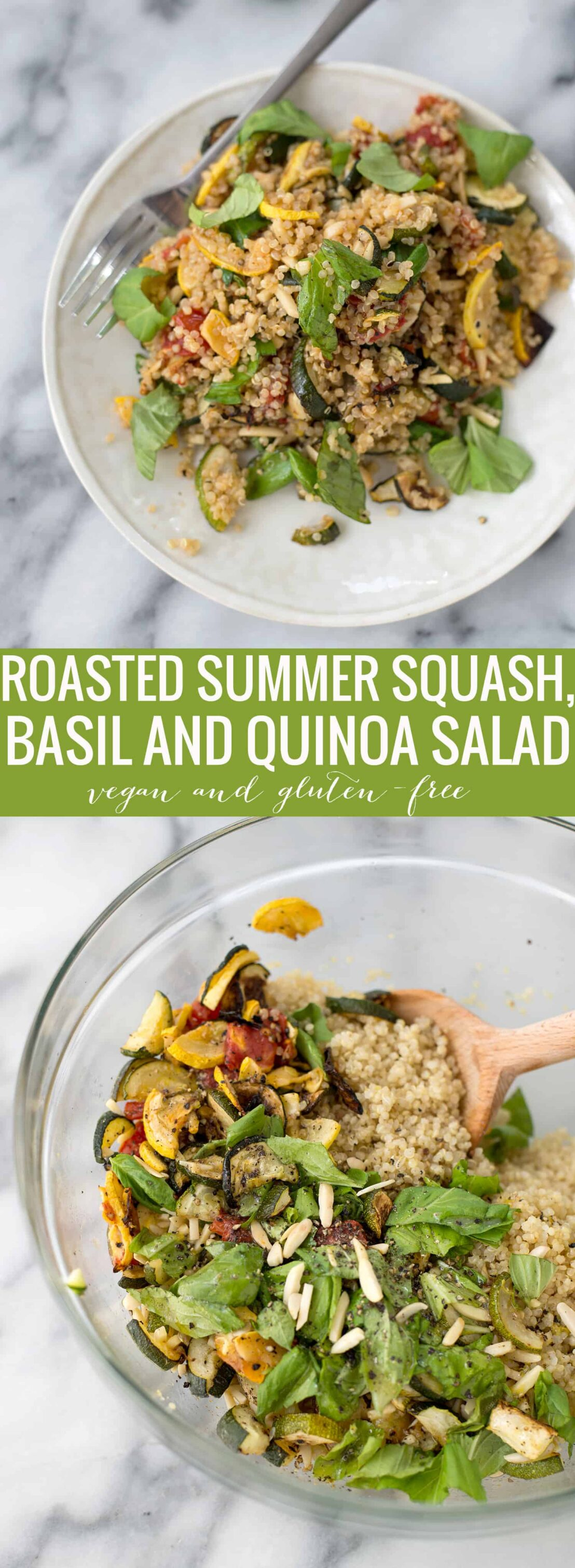 Squash and Quinoa Salad! This side dish is perfect for summer or dinners. Roasted zucchini, squash and tomatoes with quinoa and a lemon-basil dressing. Vegan and GlutenFree | www.delishknowledge.com