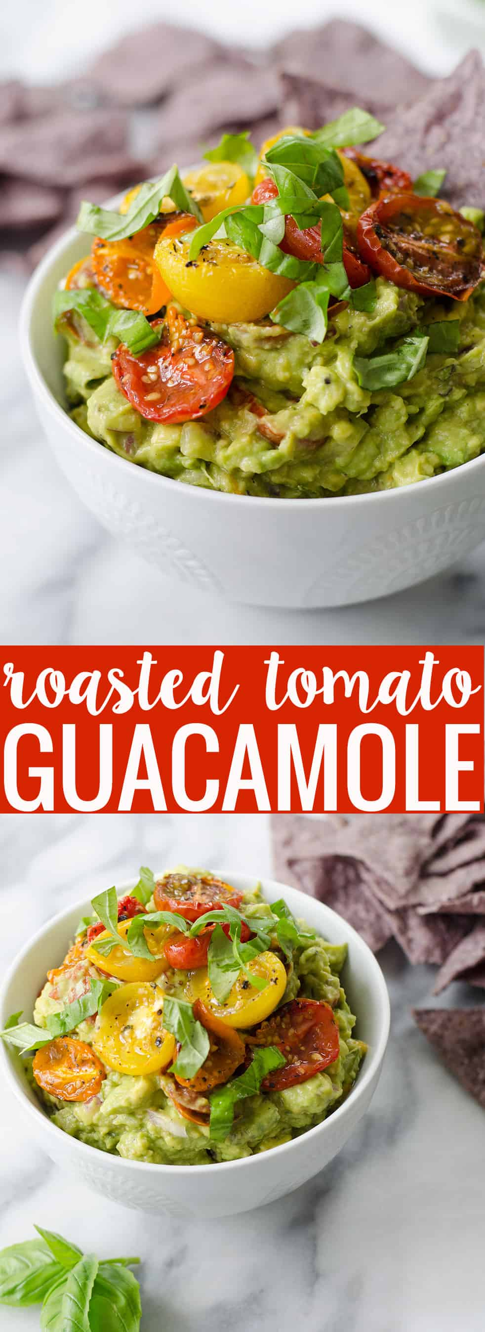 Roasted Tomato Guacamole! The perfect dip for summer or to spread on avocado toast. Vegan & Gluten-Free | www.delishknowledge.com