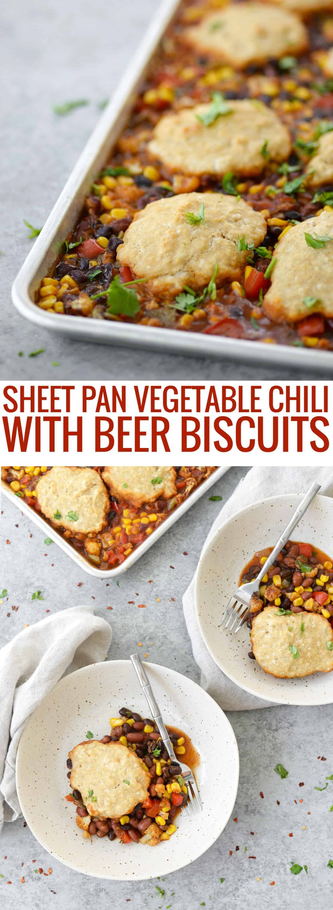 Sheet Pan Vegetable Chili with Beer Biscuits! You will love this all-in-one vegan sheet pan dinner. Roasted vegetable chili topped with whole wheat beer biscuits.   www.delishknowledge.com
