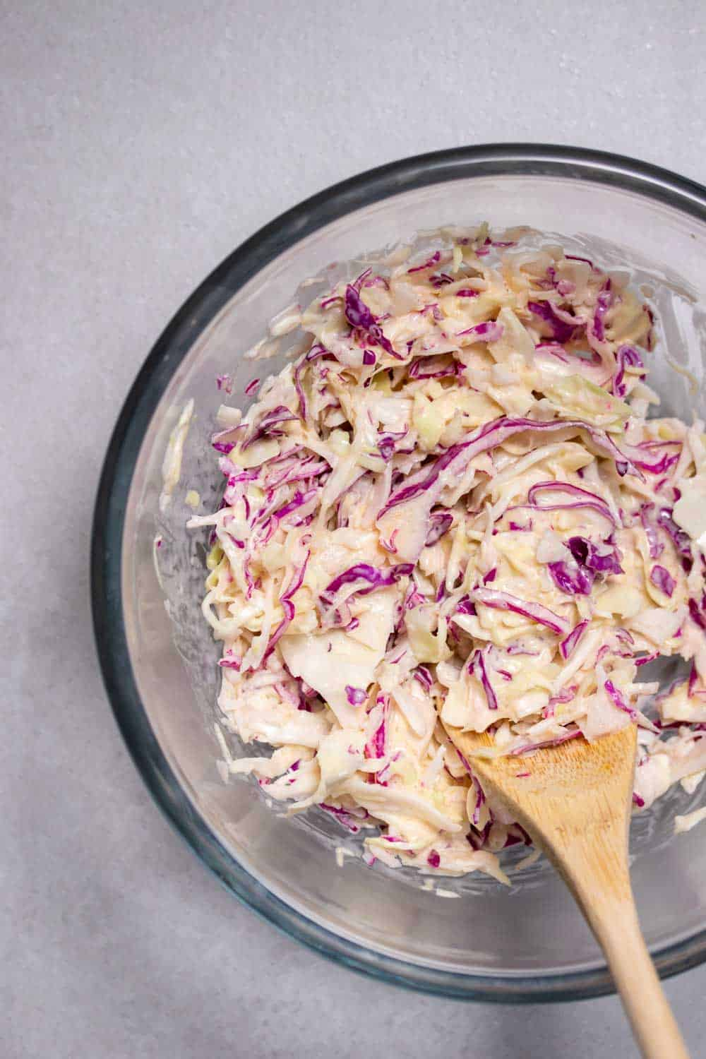 Fresh coleslaw made from scratch for the sloppy joes