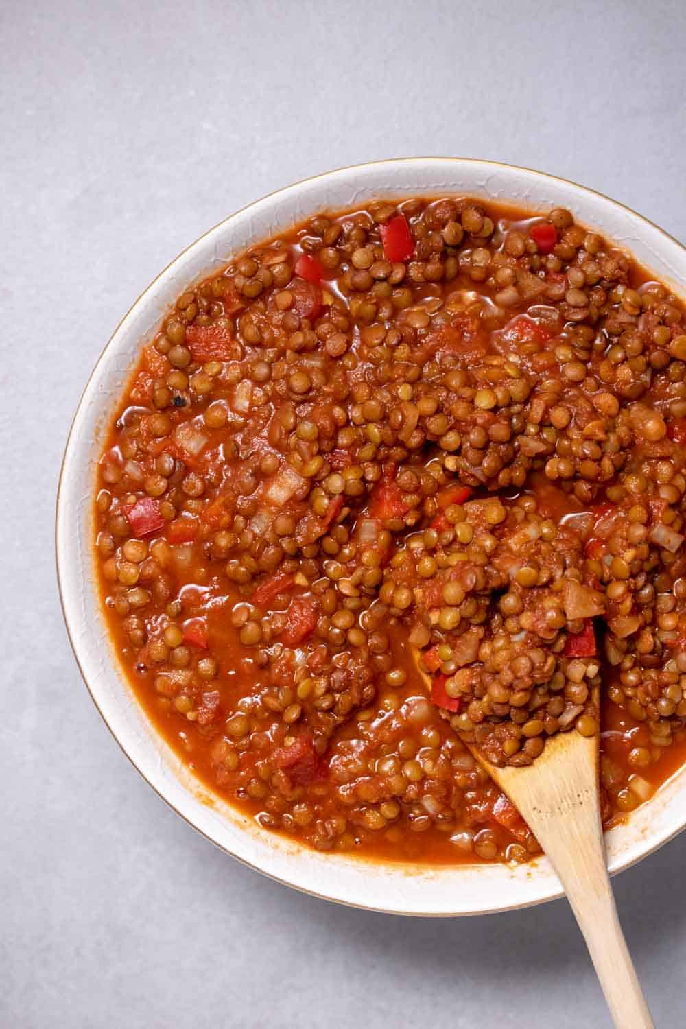 Cooked sloppy joes made with lentils in a bowl