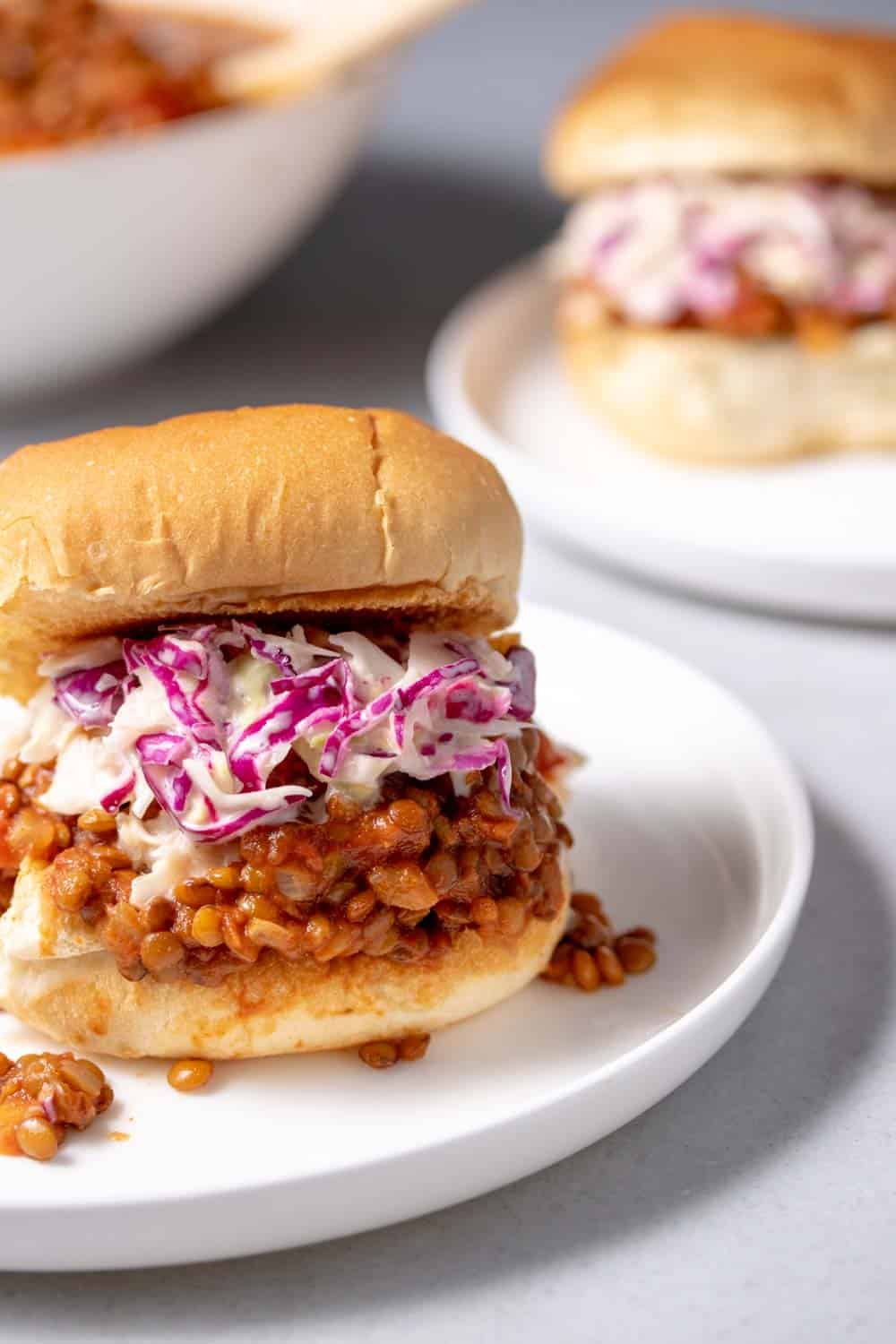 Sloppy joes served with fresh coleslaw