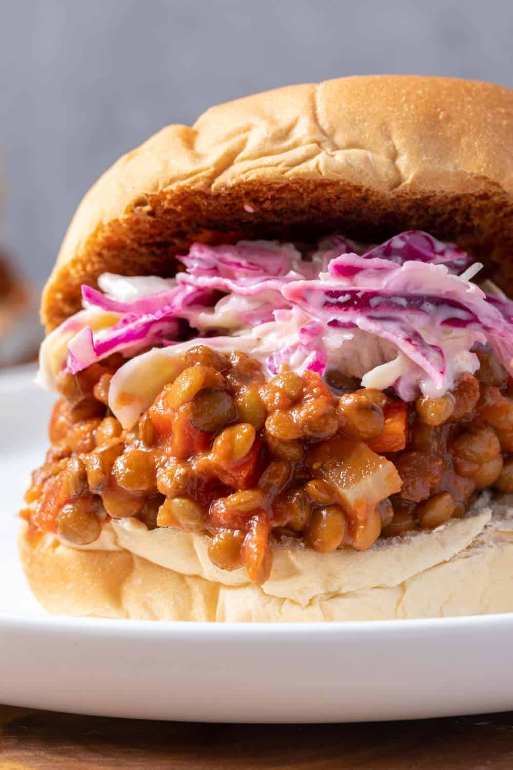 Closeup of the sloppy lentil joes with coleslaw