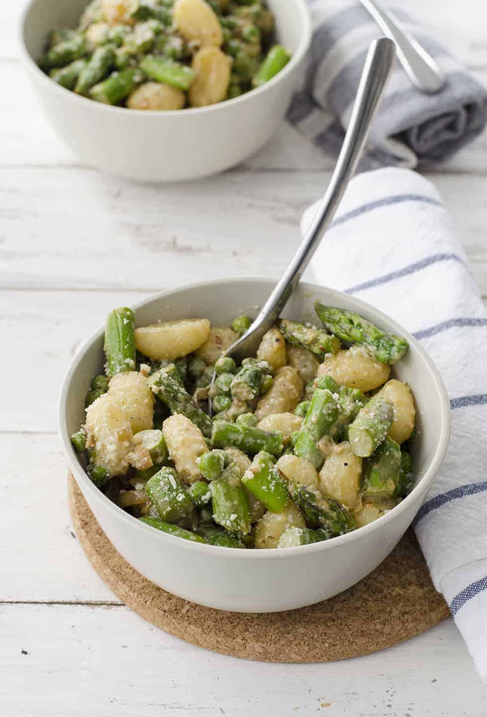 Spring Vegetable Gnocchi! Peas and asparagus in a light cream sauce ...