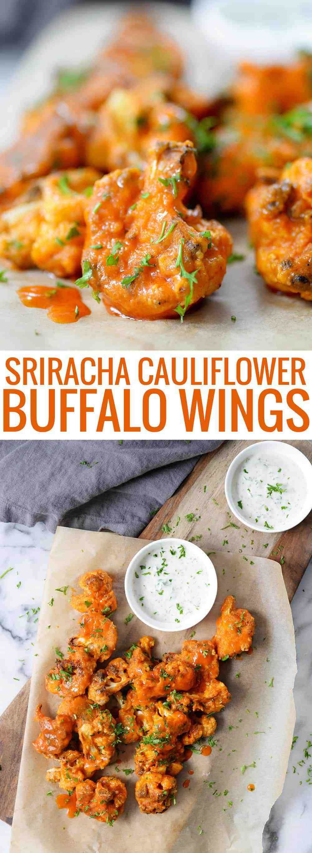 vegan sriracha cauliflower buffalo wings