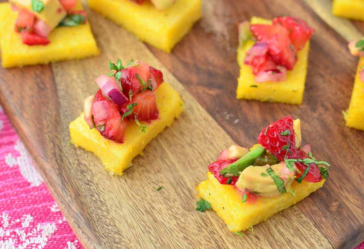 Strawberry Avocado Polenta Bites