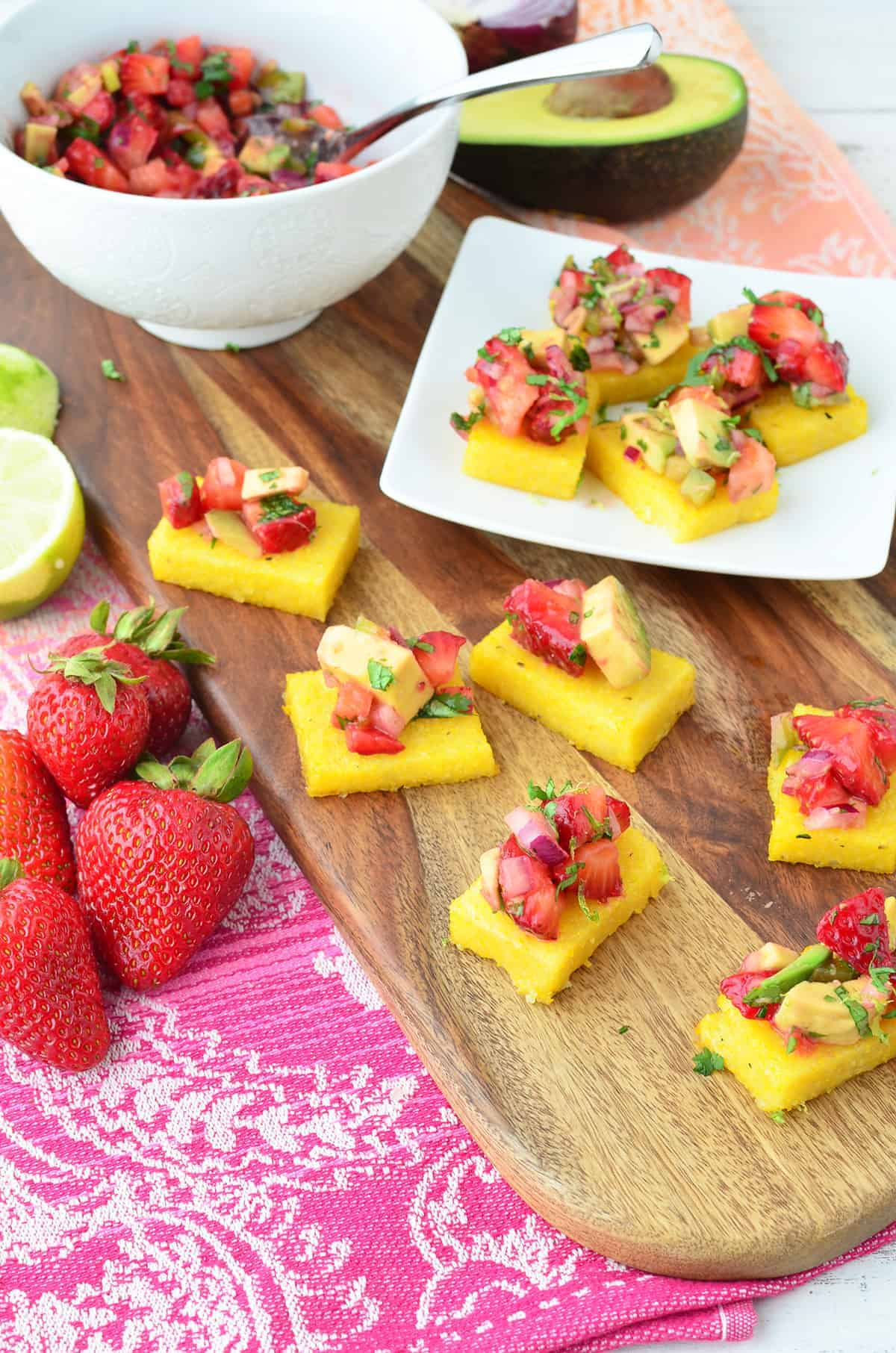 The best summer appetizer! Strawberry Avocado Polenta Bites! Gluten Free and Vegetarian! So, so good! | www.delishknowledge.com