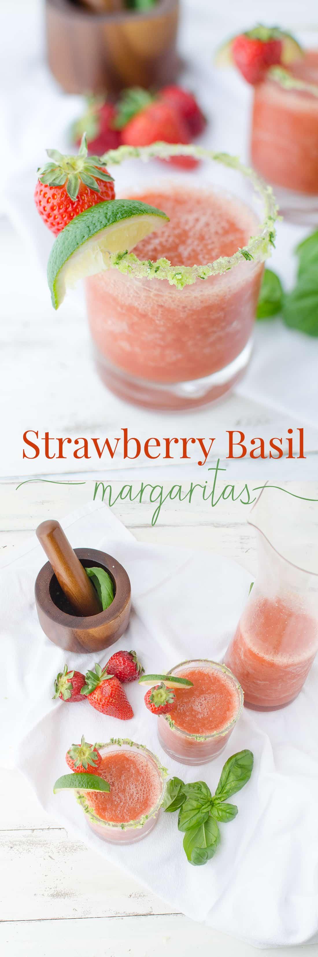 Frozen Strawberry Basil Margaritas with Basil-Salt rim