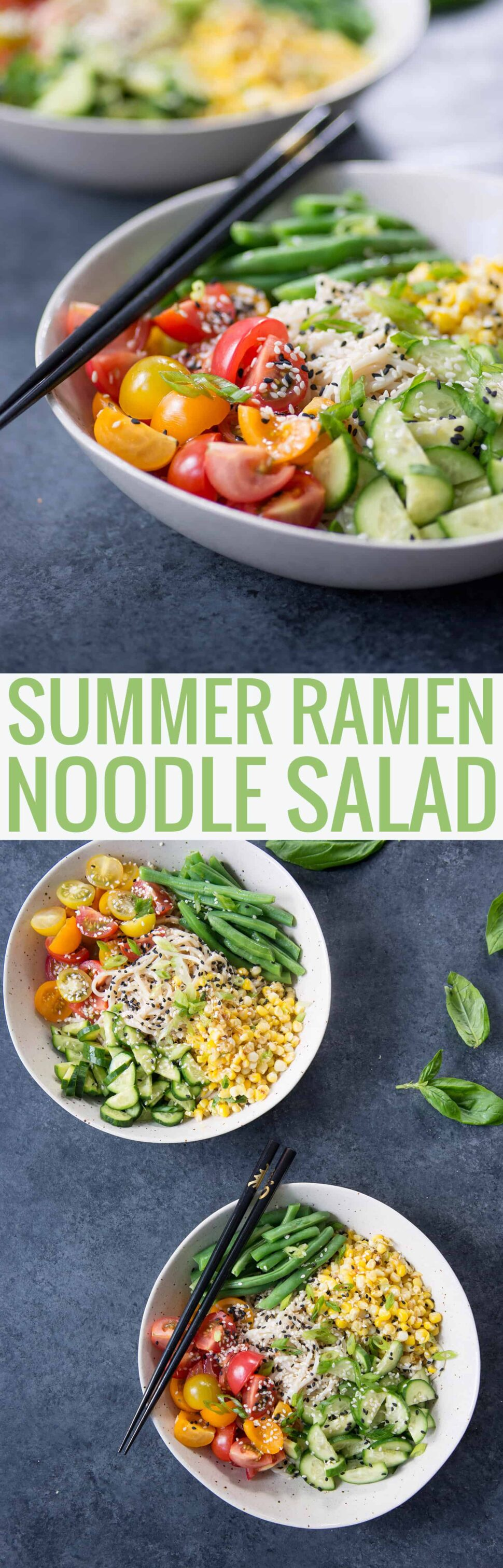 Summer Ramen Noodle Salad! You've gotta try this cold salad filled with ramen noodles, green beans, tomatoes, cucumbers, corn and a ponzu sauce. Vegan   www.delishknowledge.com