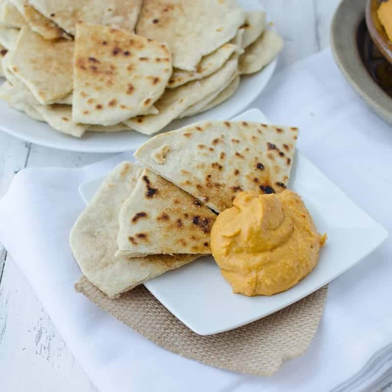 Sweet Potato Cinnamon hummus with homemade Cinnamon Sugar Flatbreads! So delicious! Perfect as a dip or as a sandwich spread. | www.delishknowledge.com