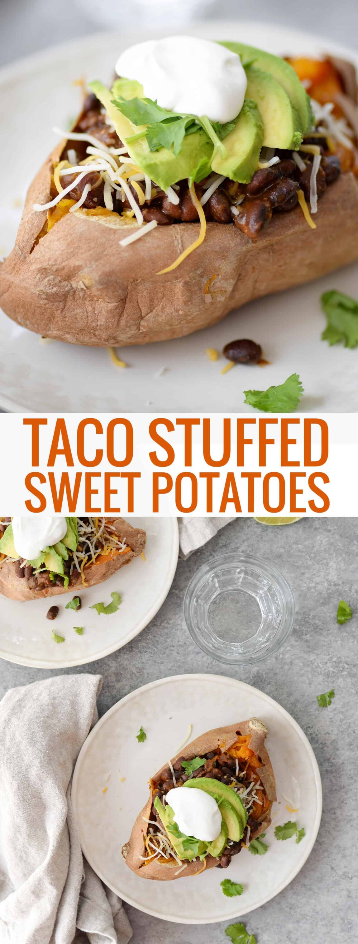 Taco Stuffed Sweet Potatoes! If you are looking for a quick and healthy vegetarian dinner, this is it. Sweet potatoes stuffed with a spicy black bean filling, cheese, avocado, cilantro and your favorite toppings. Gluten-free | www.delishknowledge.com