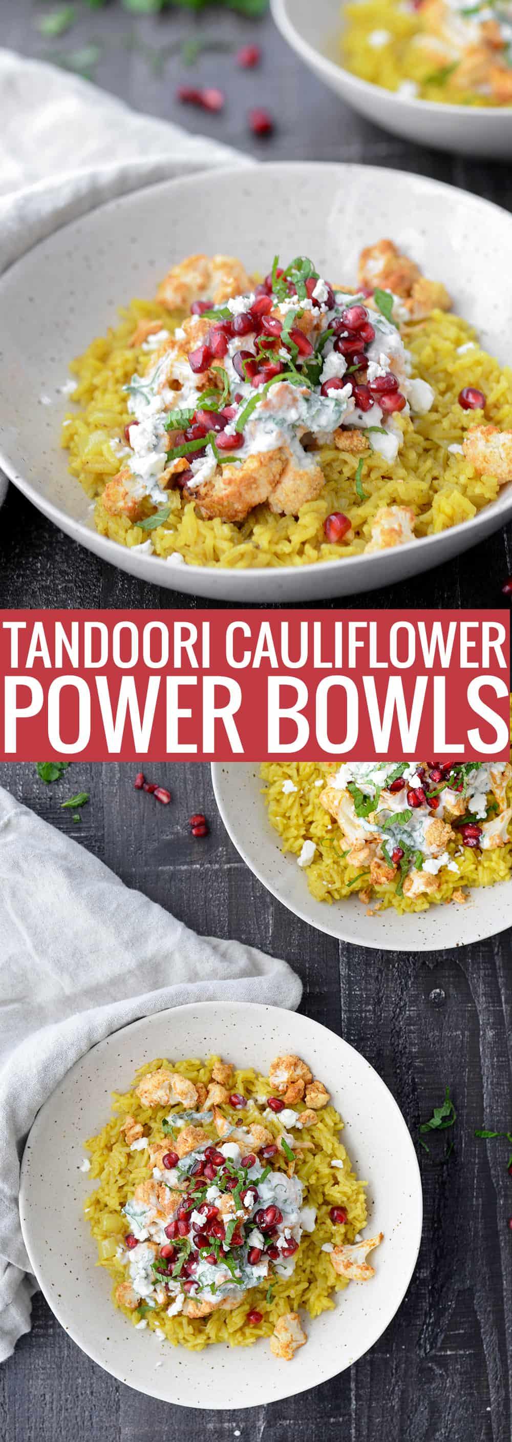 turmeric rice with tandoori cauliflower and feta yogurt sauce.