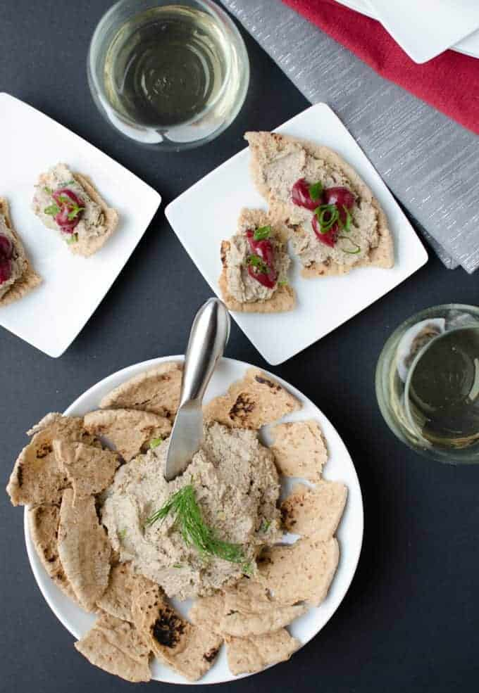 Tempeh Pate with Cherry Jam! An AMAZING appetizer to satisfy vegans & meat-eaters! Save this one to make over the holiday season or happy-hour at home! | www.delishknowledge.com