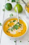 Creamy Thai Coconut Carrot Soup! This savory, spicy soup is perfect for spring! Pureed carrots in a coconut-curry broth. Vegan & Gluten-Free. | www.delishknowledge.com