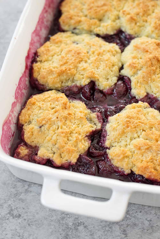fresh cherry cobbler with vegan cobbler biscuits