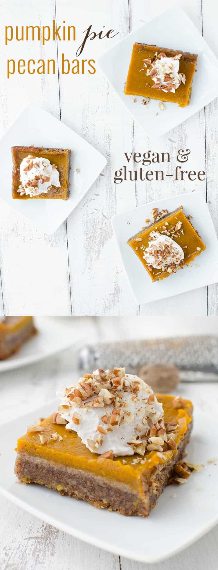 Vegan and Gluten-Free Pumpkin Pie Pecan Bars! Now you don't have to choose between pies! This dessert is the BEST- a must for Thanksgiving. Topped with Cinnamon-Vanilla Coconut Cream. | www.delishknowledge.com