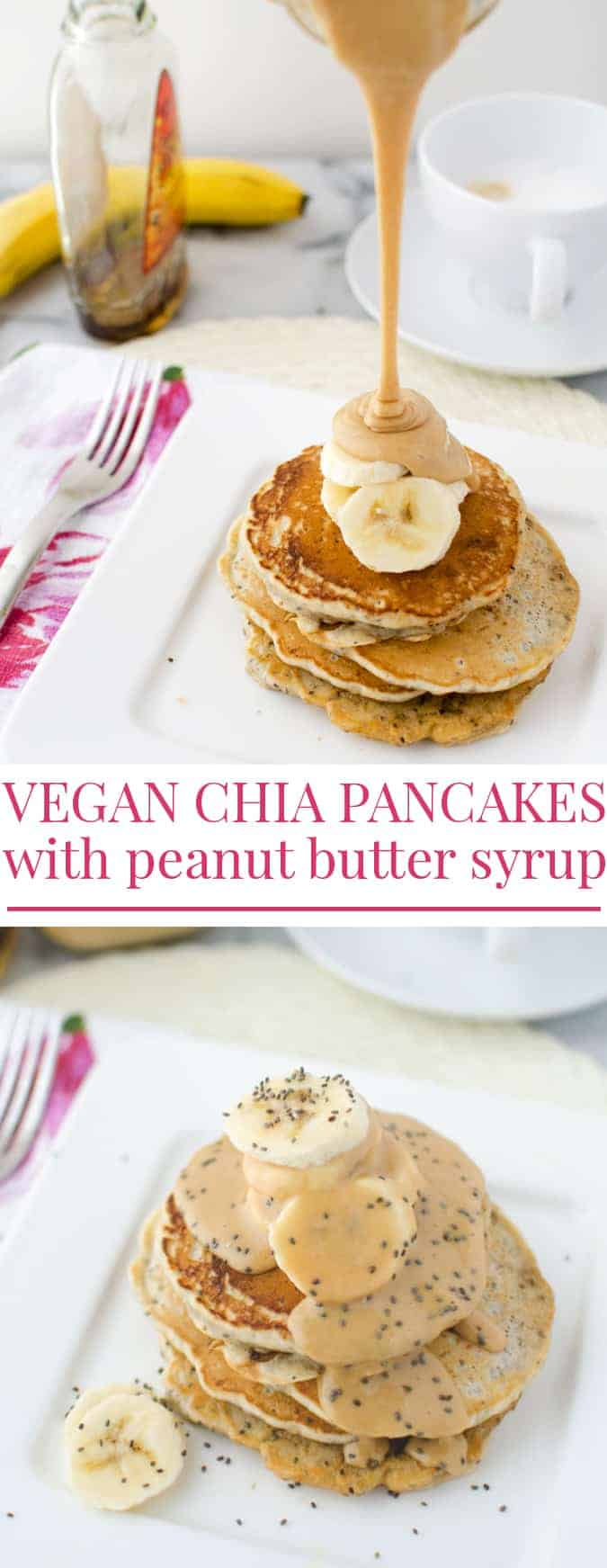 Vegan chia pancakes topped with velvety, decadent maple-peanut butter syrup and fresh sliced bananas! | www.delishknowledge.com