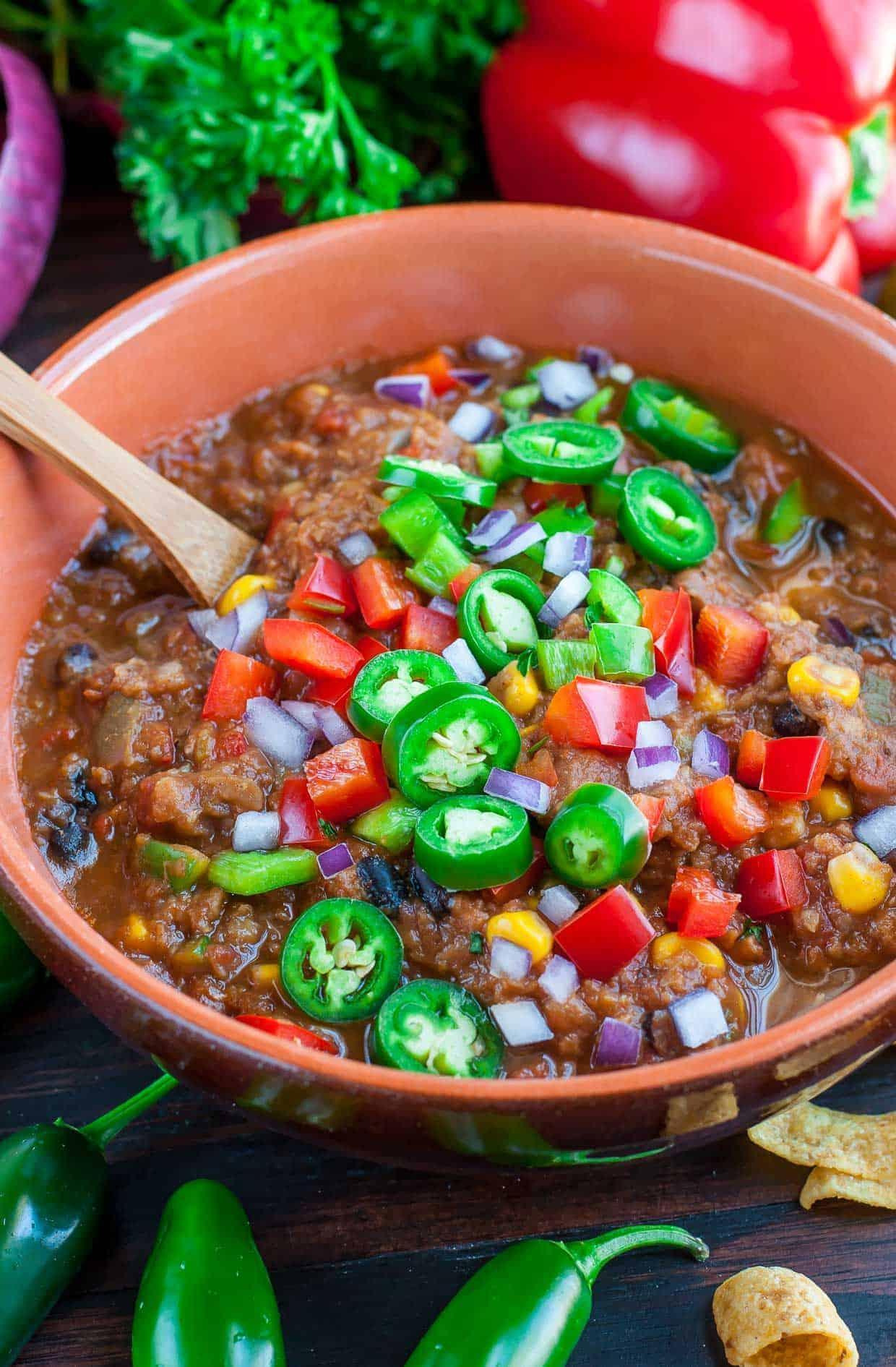slow cooker vegan chili