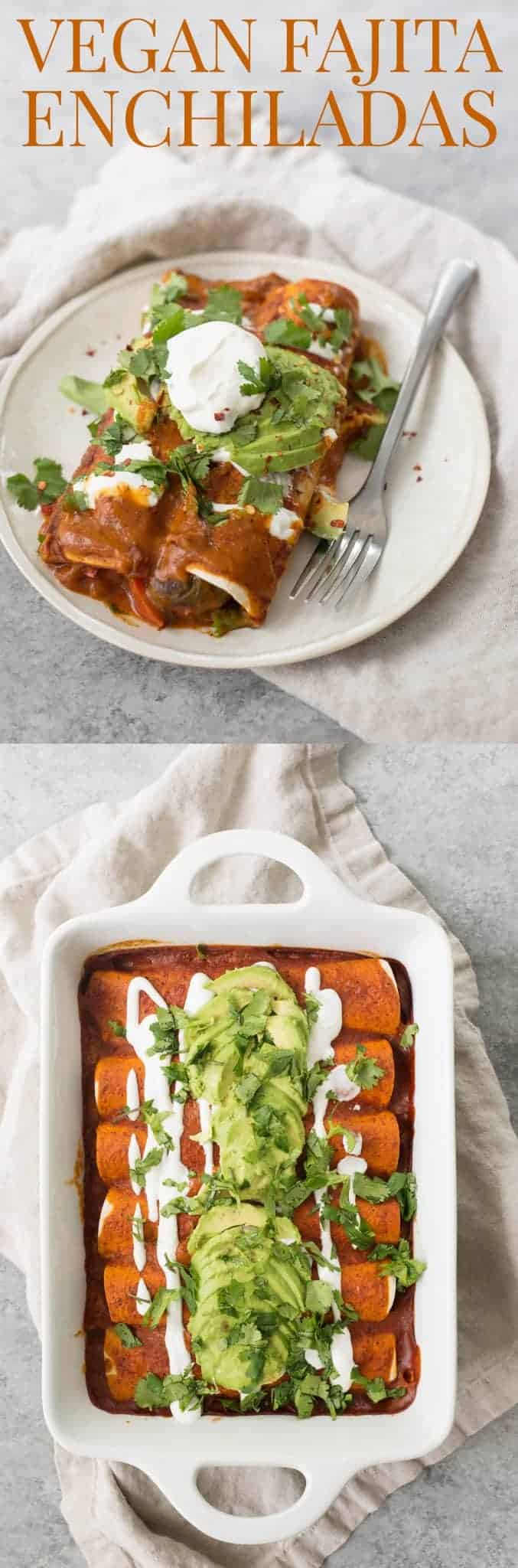 Veggie Fajita Enchiladas! These enchiladas are perfect for Cinco de Mayo. Roasted peppers, onions and beans covered in a homemade enchilada sauce and avocado. | www.delishknowledge.com