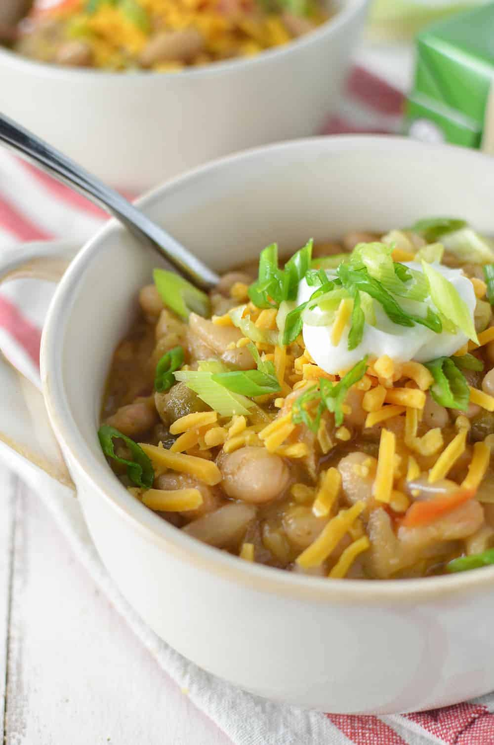 White Bean Chili! Gluten-Free and easily Vegan! SO much flavor in this one, a must make this winter! | www.delishknowledge.com
