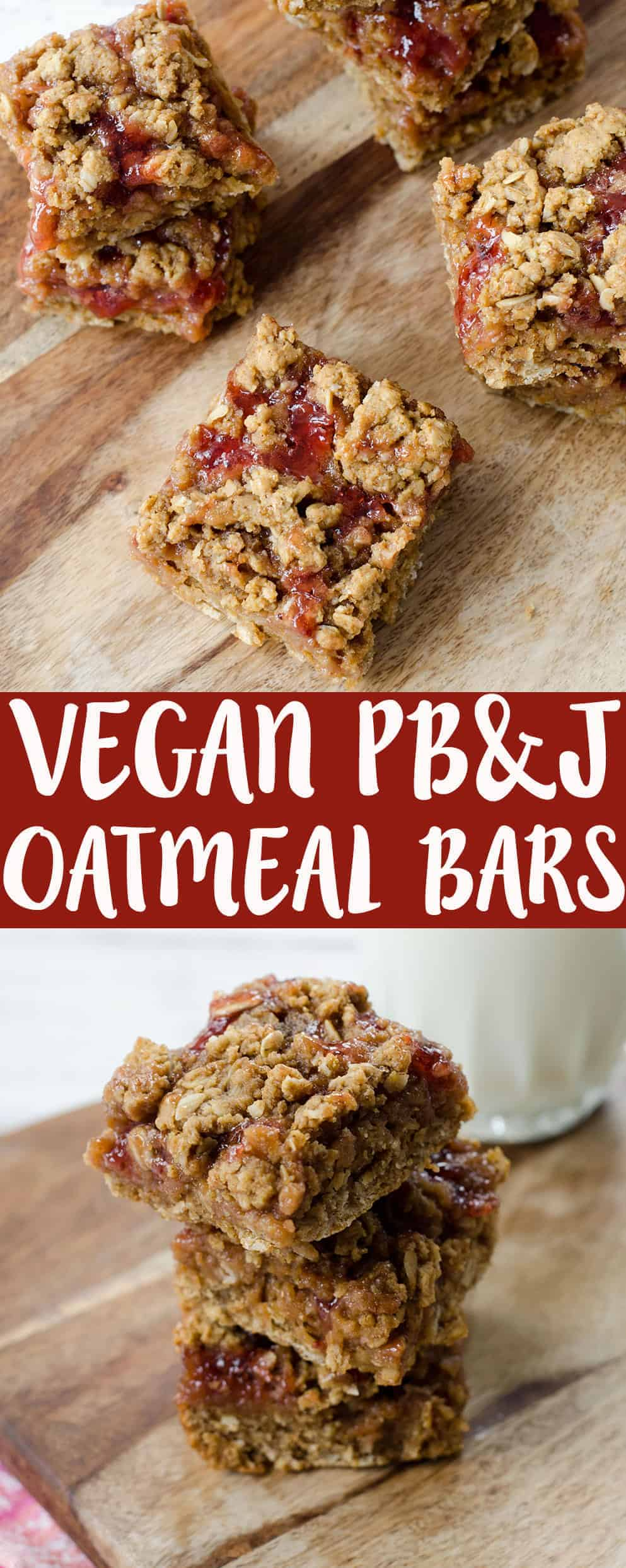 Peanut Butter and Jelly Oatmeal Bars! A wholesome, vegan dessert that everyone will love. Strawberry jam sandwiched between a whole-wheat peanut butter crust. Ready in just 25 minutes! | www.delishknowledge.com