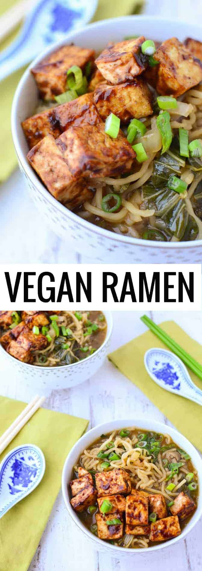Vegan Ramen Soup! Flavorful miso broth with hoisin tofu and fresh ramen noodles. | www.delishknowledge.com #vegan #ramen #soup #tofu #healthy #vegetarian #dinner #healthyrecipes #plantbased