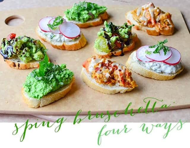 vegan spring bruschetta 4 ways.