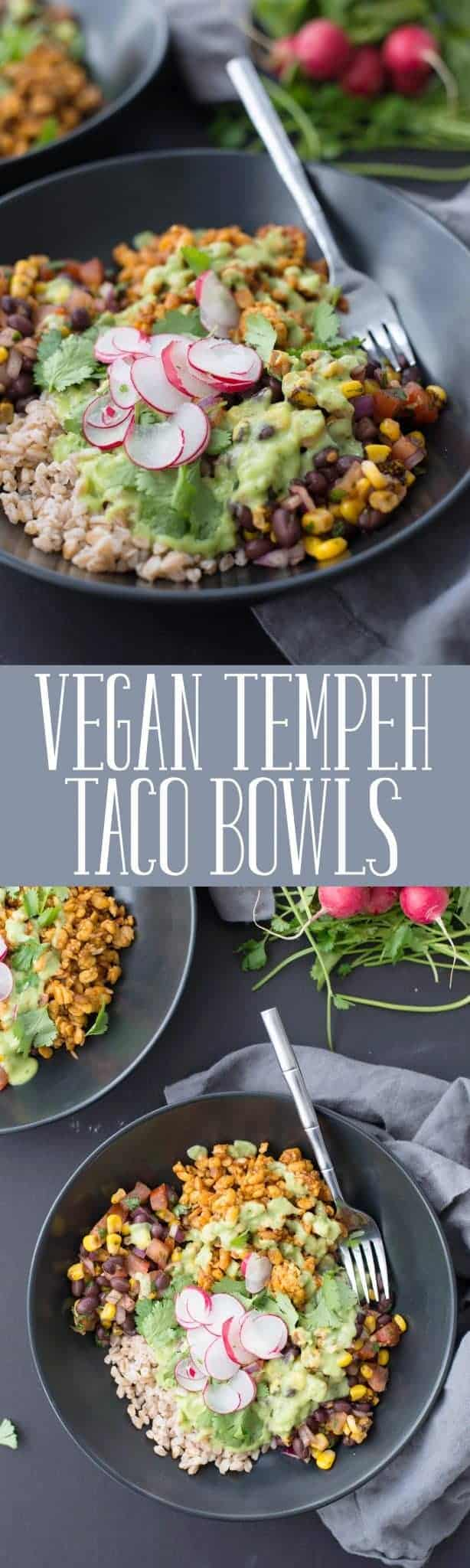 Vegan Tempeh Taco Bowls! These bowls are a MUST-MAKE. Spicy tempeh taco filling, farro, black bean and corn salsa, pickled radishes and a creamy avocado-jalapeno sauce.   delishknowledge.com