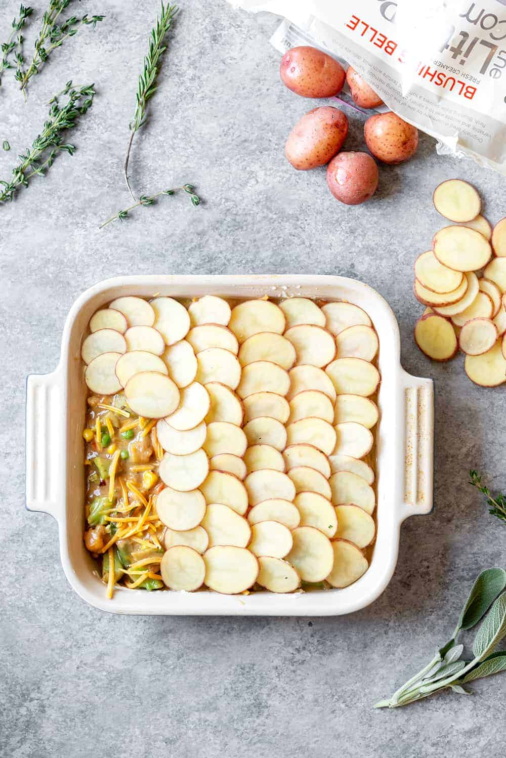 vegetarian pot pie with scalloped potato crust