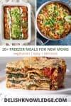 enchiladas, corn mixture, and lasagna