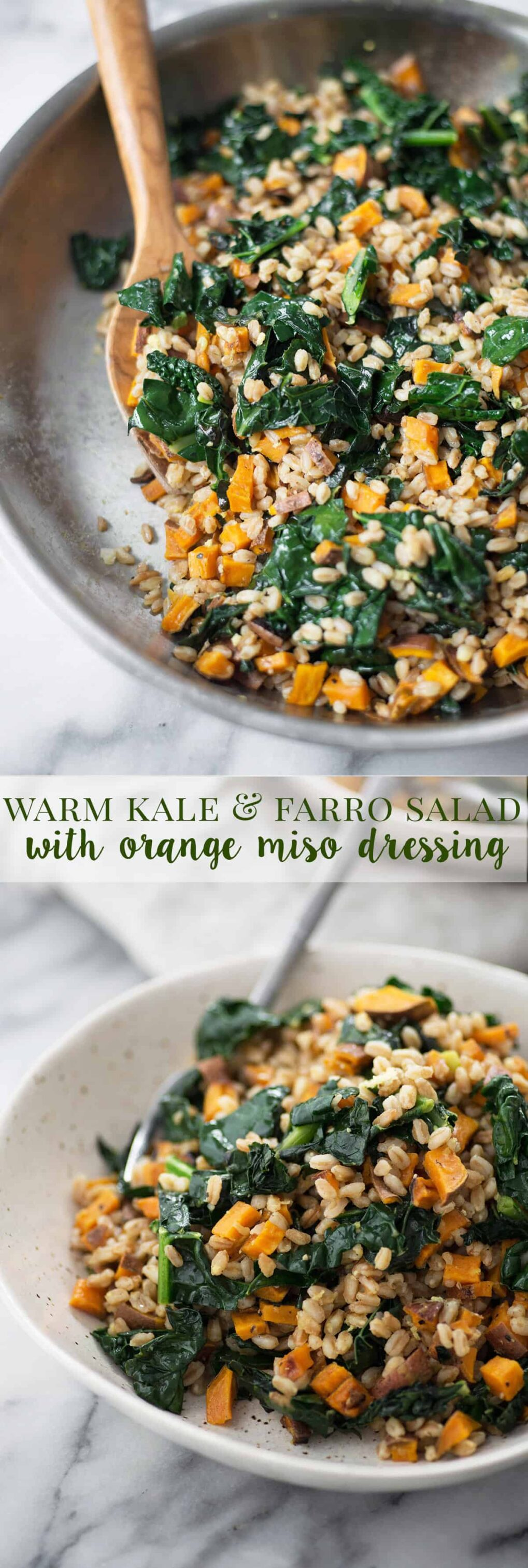 Warm Farro and Kale Salad with Orange-Miso Dressing! This vegan meal is super nourishing and healthy. A must make this winter!   www.delishknowledge.com
