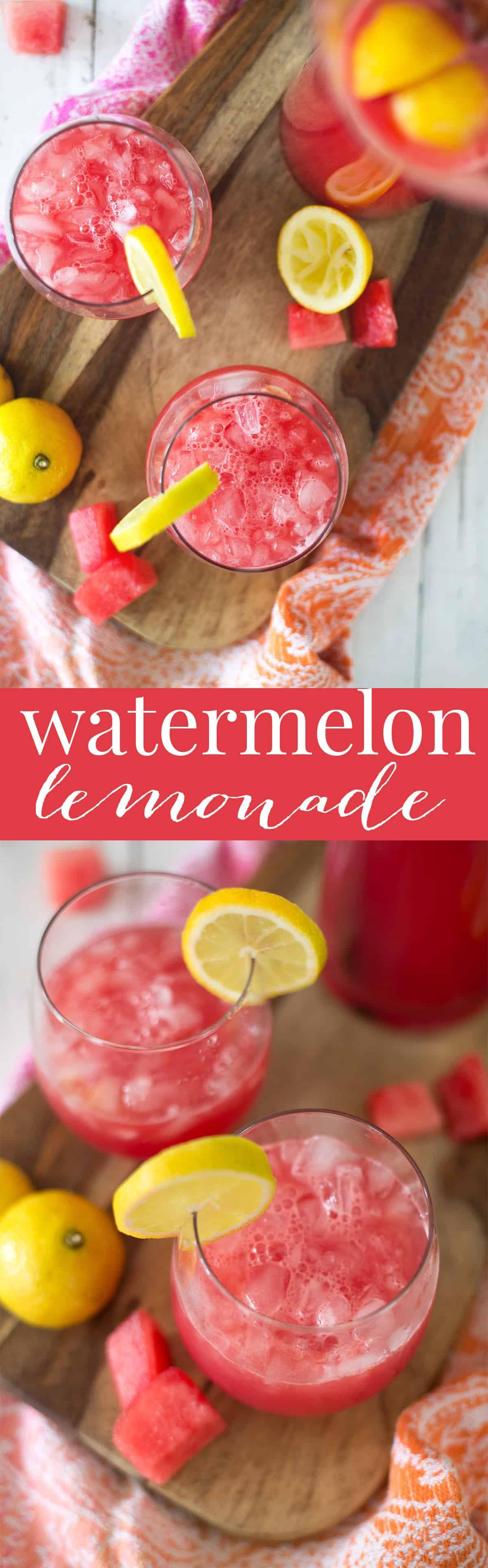 Watermelon Lemonade! Refreshing, lightly sweetened, the perfect beverage for hot summer days! Watermelon puree, fresh lemon juice and sparkling water. Vegan, Gluten-Free | www.delishknowledge.com