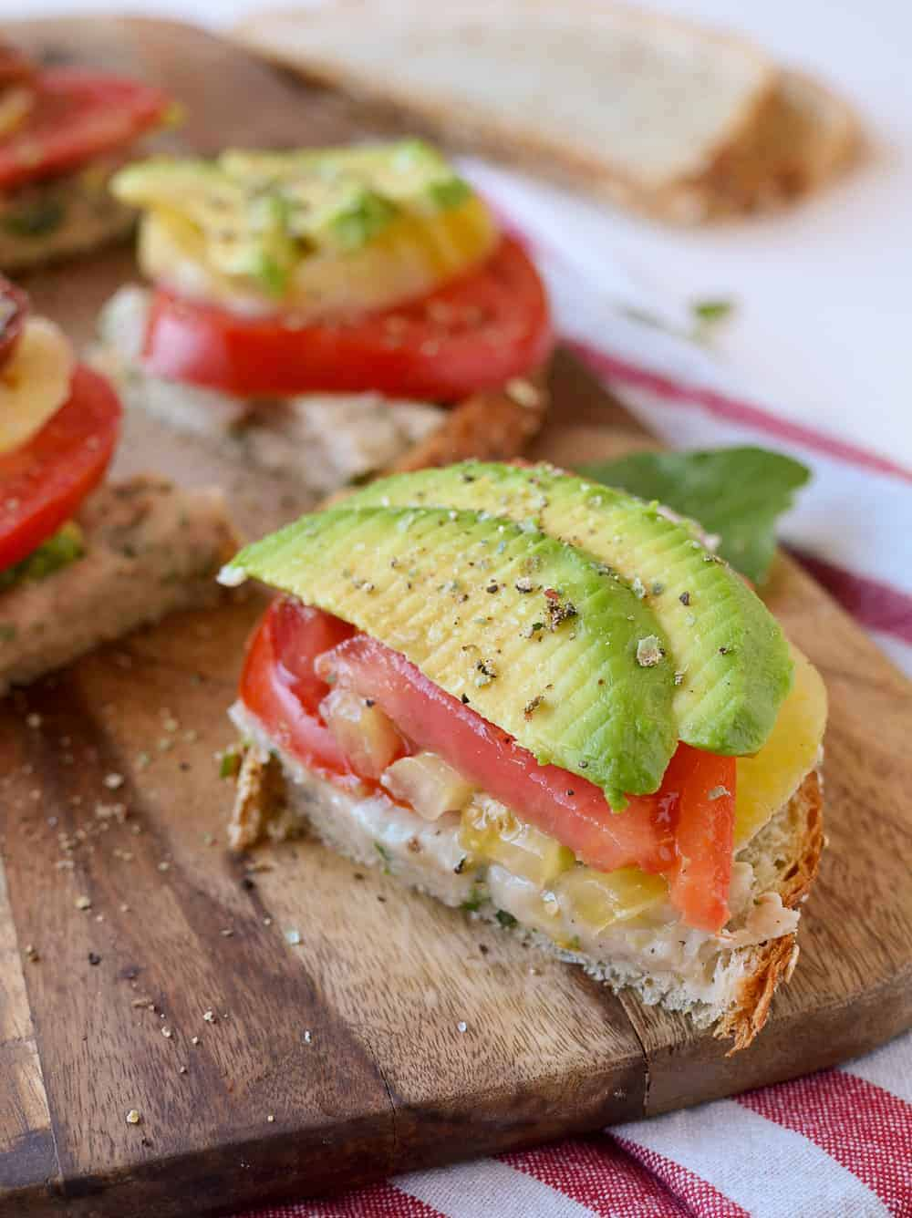 White Bean Tomato Avocado Toasts - Delish Knowledge