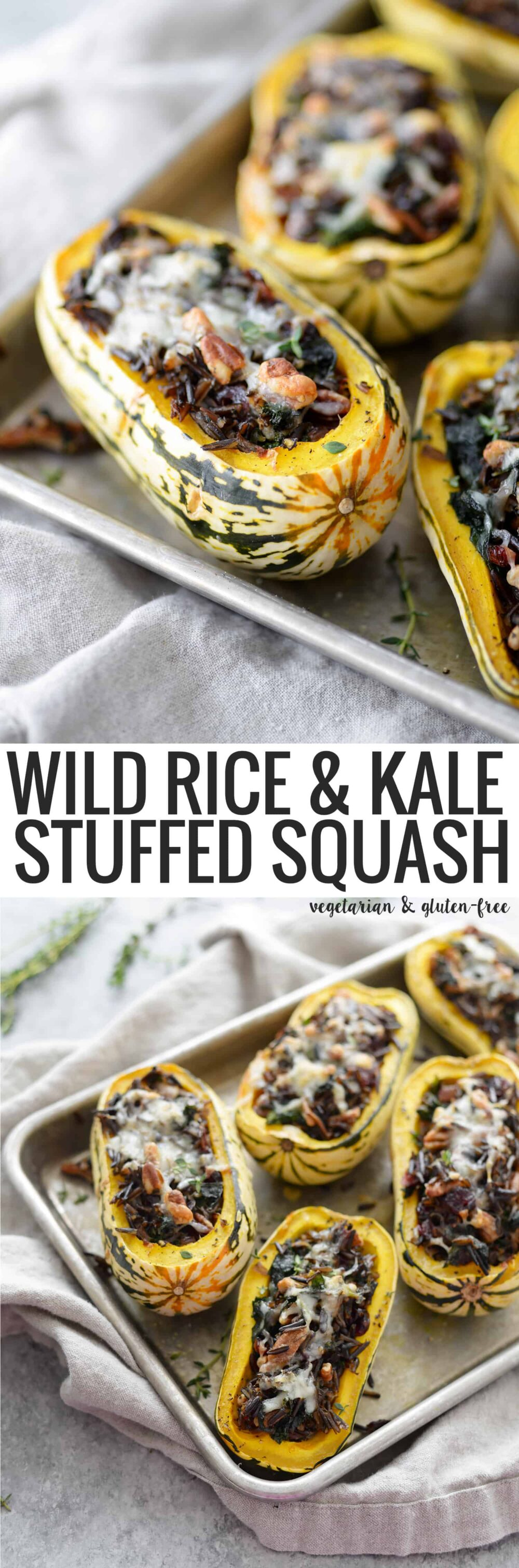 Wild Rice, Kale and Cranberry Stuffed Delicata Squash. The perfect vegetarian main dish for thanksgiving. Roasted Squash stuffed with wild rice, kale, pecans, cranberries and topped with cheese. Gluten-free | #thanksgiving #glutenfree #squash #healthy #vegetarian www.delishknowledge.com