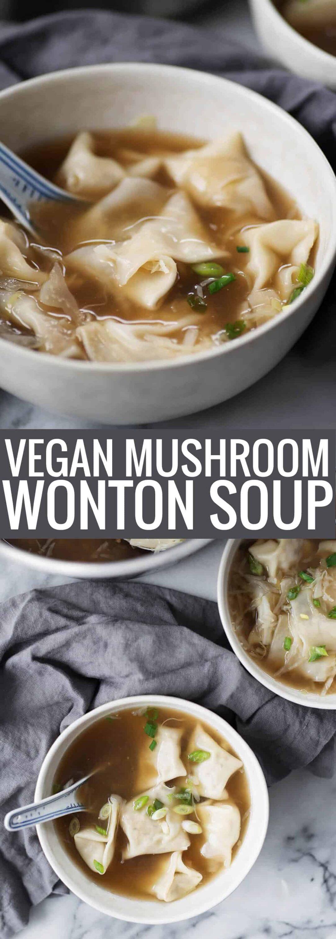 bowl of mushroom wonton soup