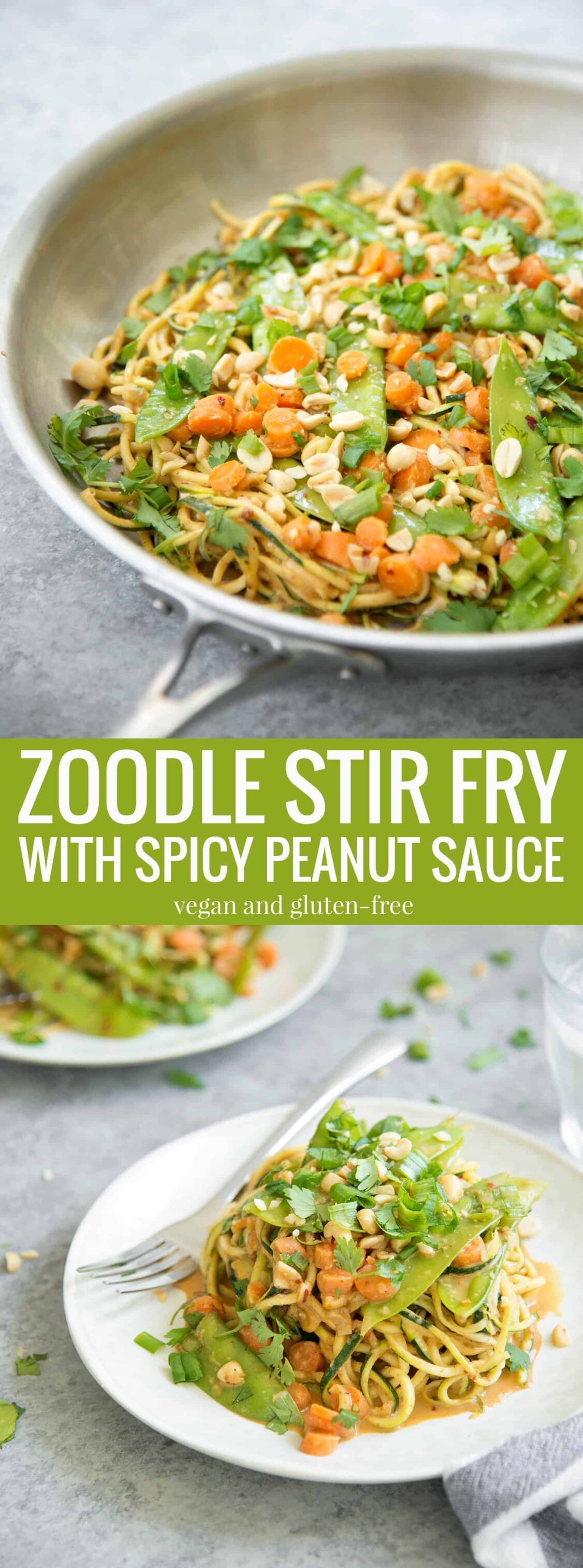 Zoodle Stir Fry with Spicy Peanut Sauce! You've gotta try this one-skillet meal, vegan and gluten-free. Spiralized zucchini, snow peas, carrots and herbs in a spicy peanut sauce. Enjoy as is or add your favorite protein. | www.delishknowledge.com