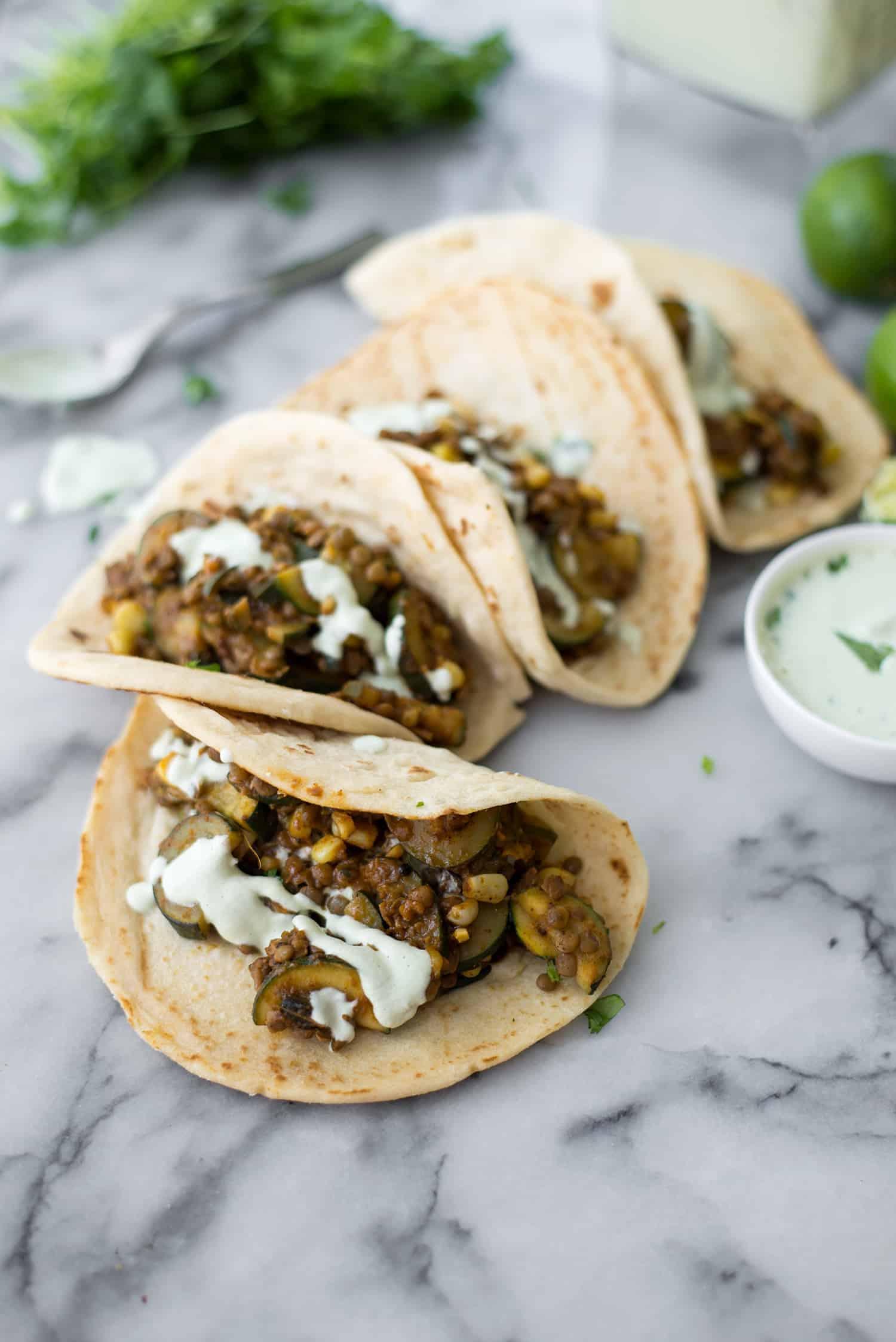 Vegan Zucchini and Lentil Tacos - Delish Knowledge