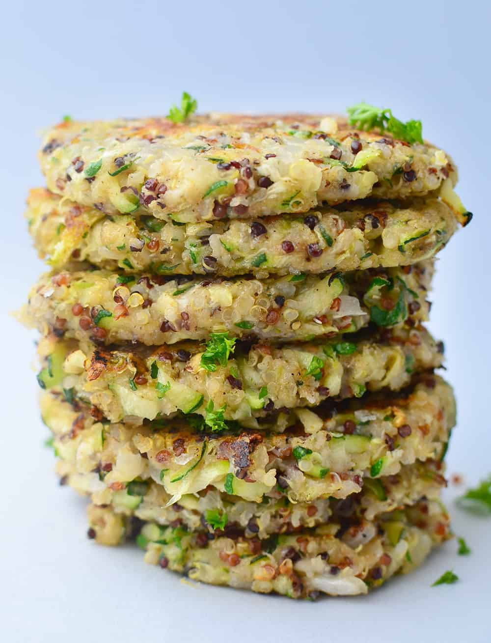 Stack of the Quinoa Zucchini Fritters after frying